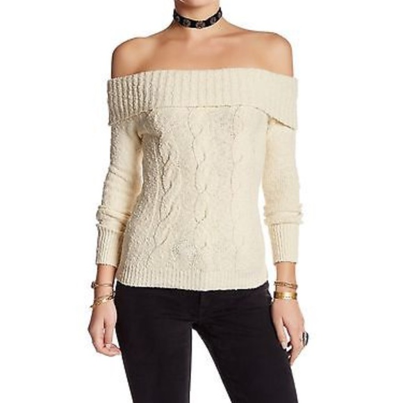 Free People Sweaters Off The Shoulder Cable Knit Sweater Poshmark